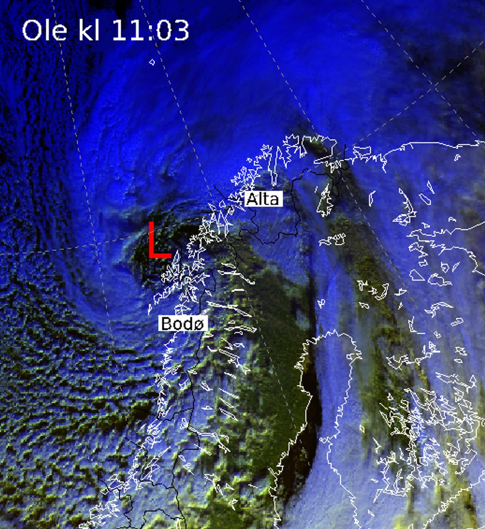 Satelittbilde av Ole like før det braket løs, lørdag 7.2.