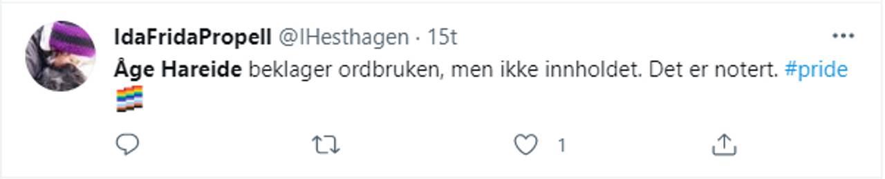 Twitter-melding om Åge Hareide på Dagsnytt 18.