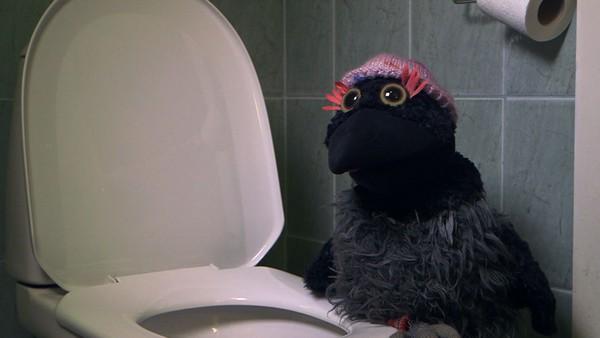 Garjá er nyskjerrig på hva som skjer med bæsjen når den skylles i kloakken. (6:9)