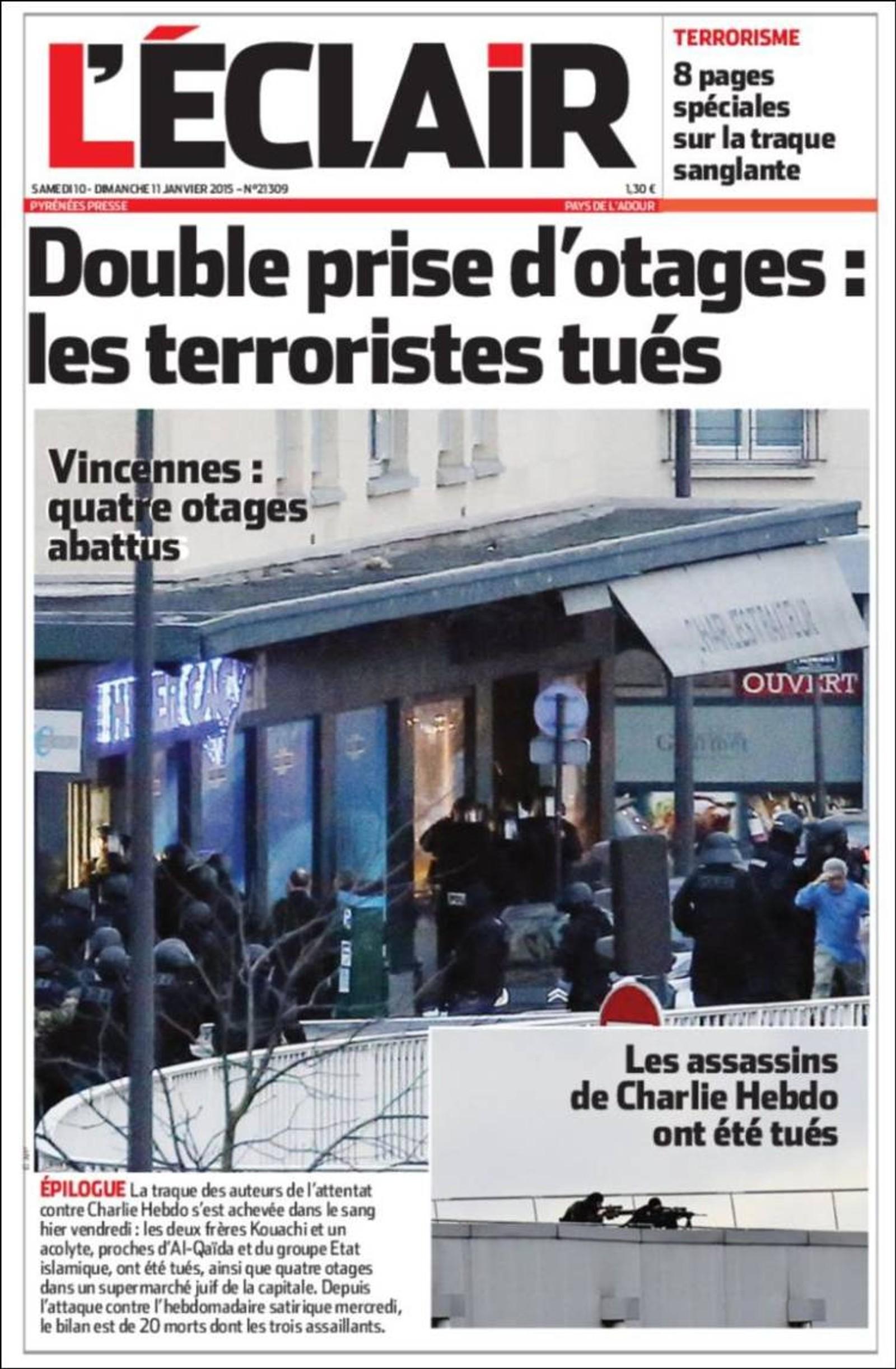 L'Eclair: Dobbel gisseltaking: Terroristene er drept.