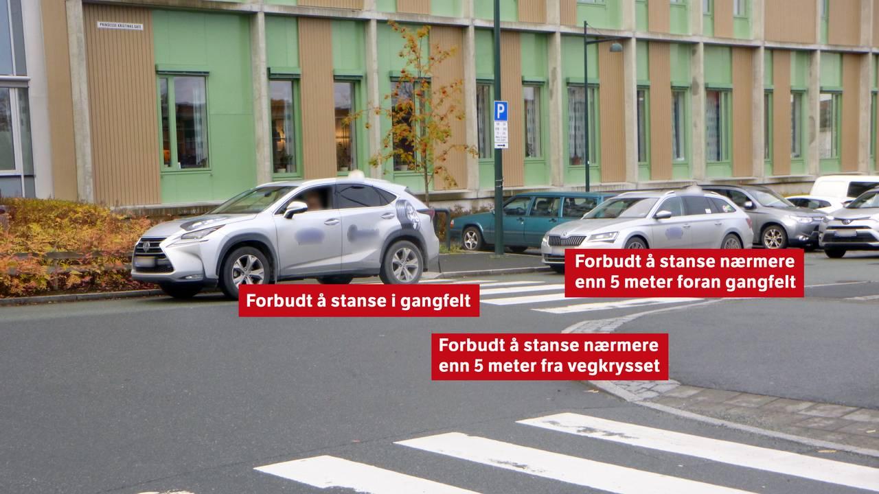 Fasit på spørsmålet fra forrige bilde 1. Forbudt å stanse i gangfelt 2. Forbudt å stanse nærmere enn fem meter foran gangfelt 3. Forbudt å stanse nærmere enn fem meter fra veikrysset