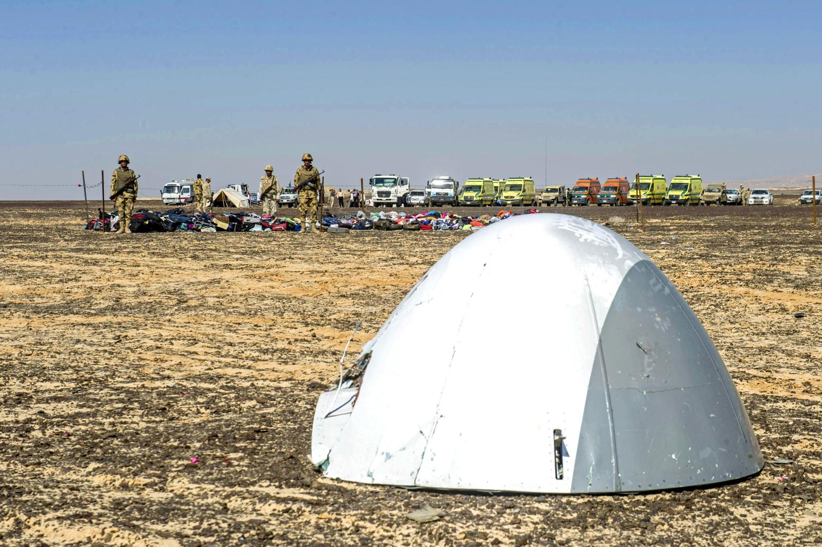 På bildet ser man nesen til det russiske flyet som styrtet i Egypt.