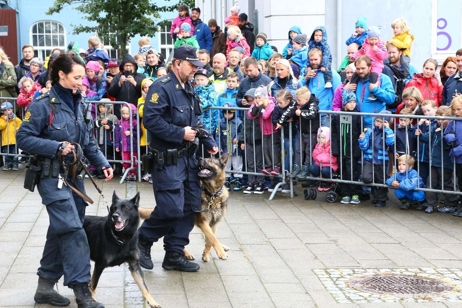 Politiet hadde oppvisning med politihundene for dem som hadde møtt opp.