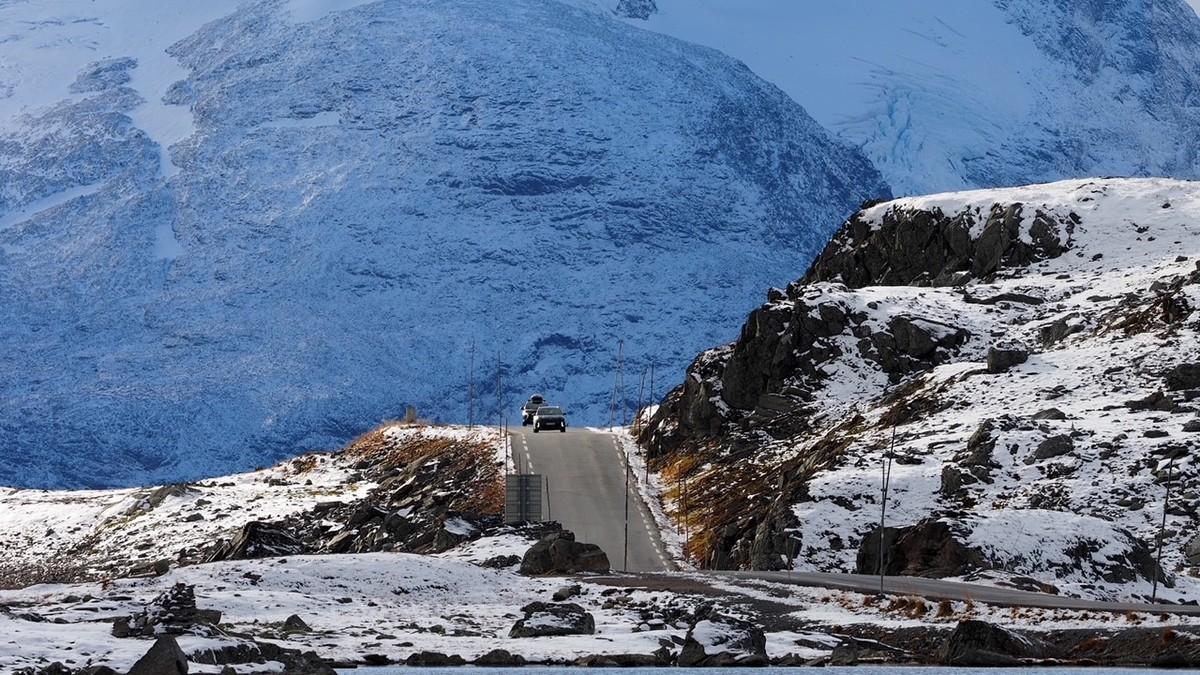 Vinter på Sognefjellet. Onsdag er det meldt mer snø. her fra FV 55 ved Sognefjellshytta