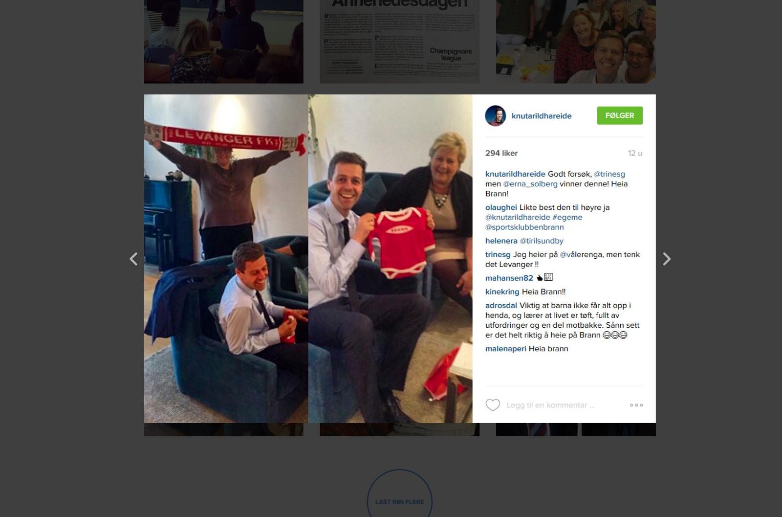 KrF-leder Knut Arild Hareide bruker periodevis instagram, og byr da på seg selv. Dette er delt like etter at han fikk barn tidligere i 2015.