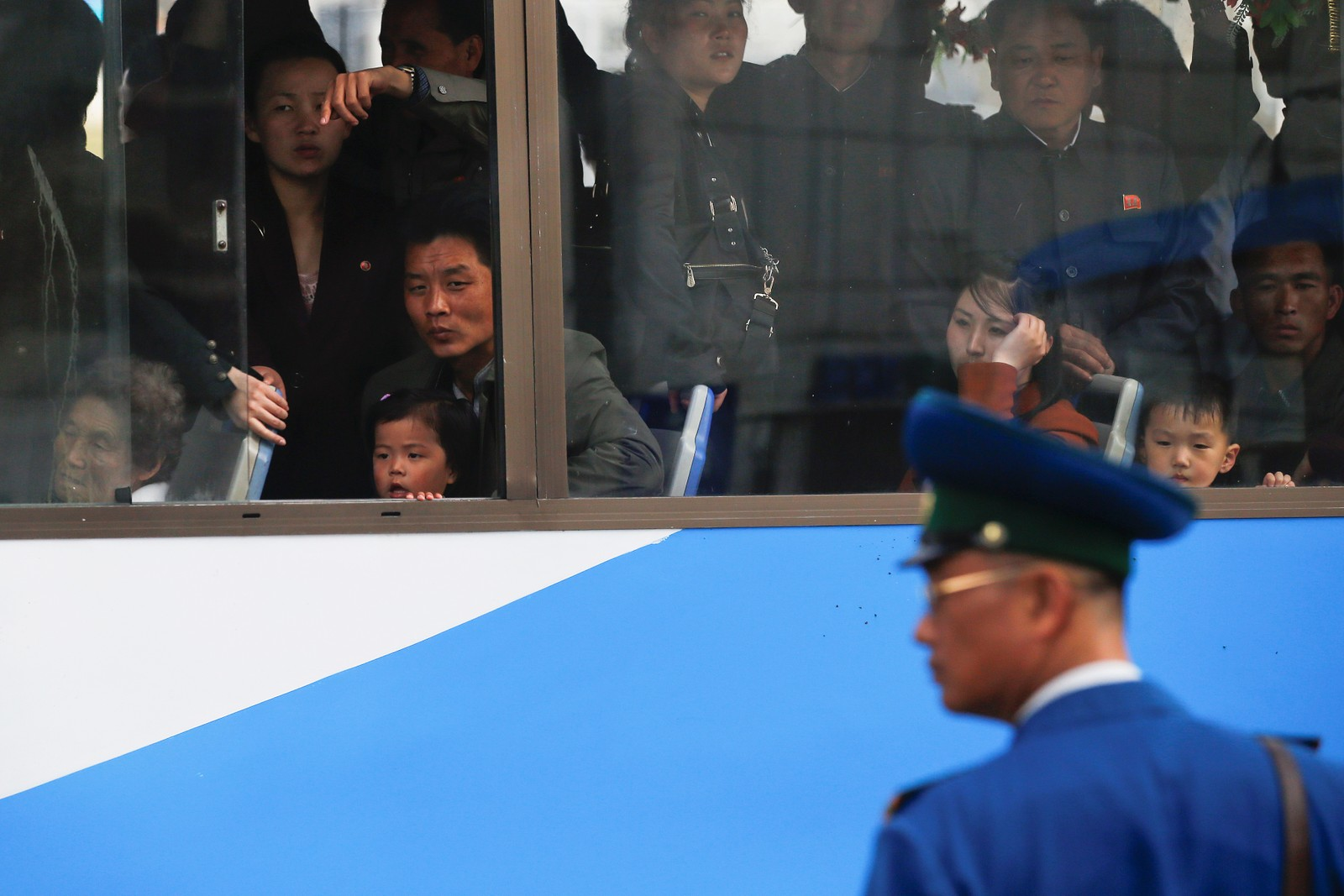Fulle busser i Pyongyang.