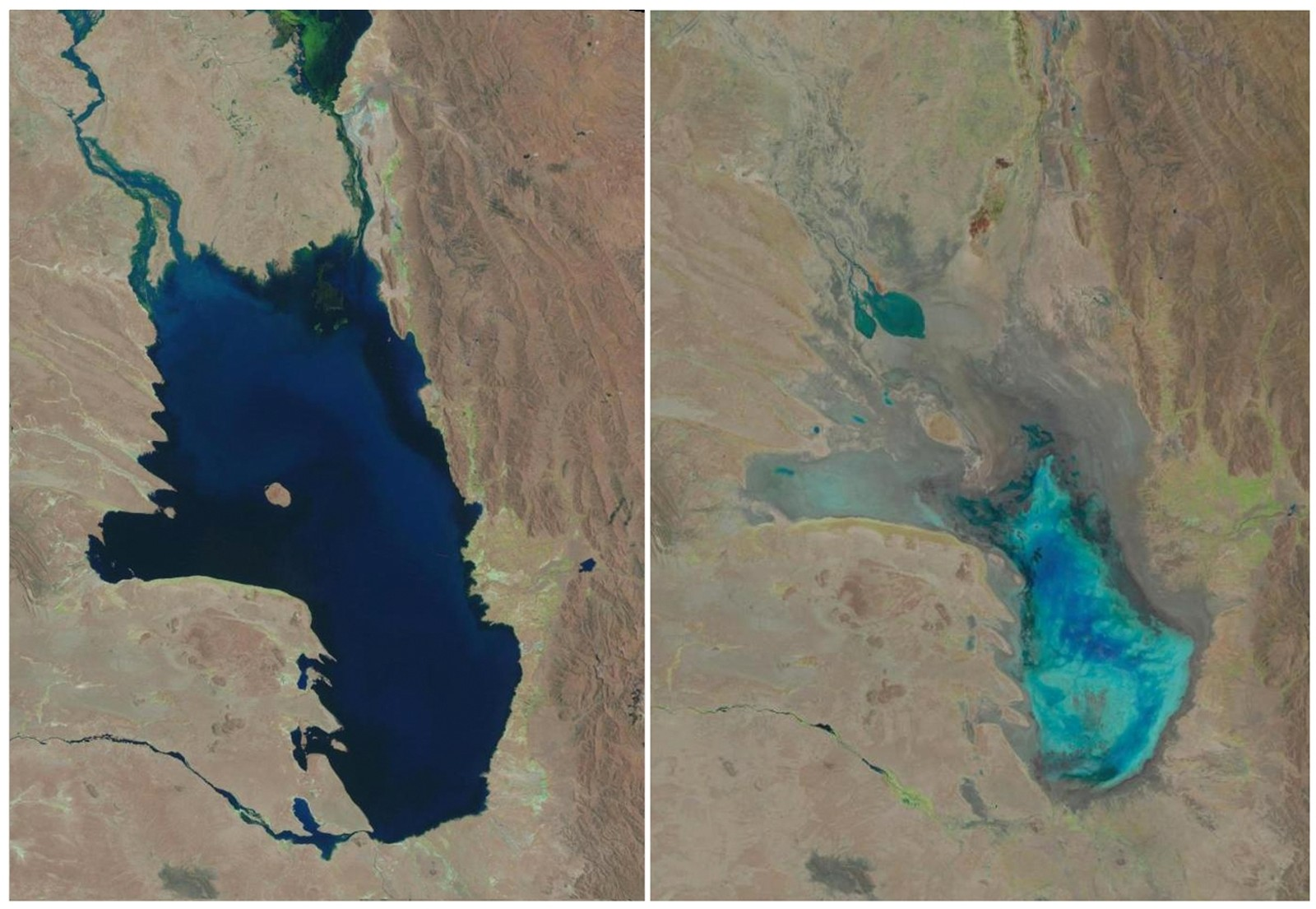 Satellittbildet til venstre viser innsjøen i oktober 1986 til venstre er den nesten helt borte tidligere denne måneden.