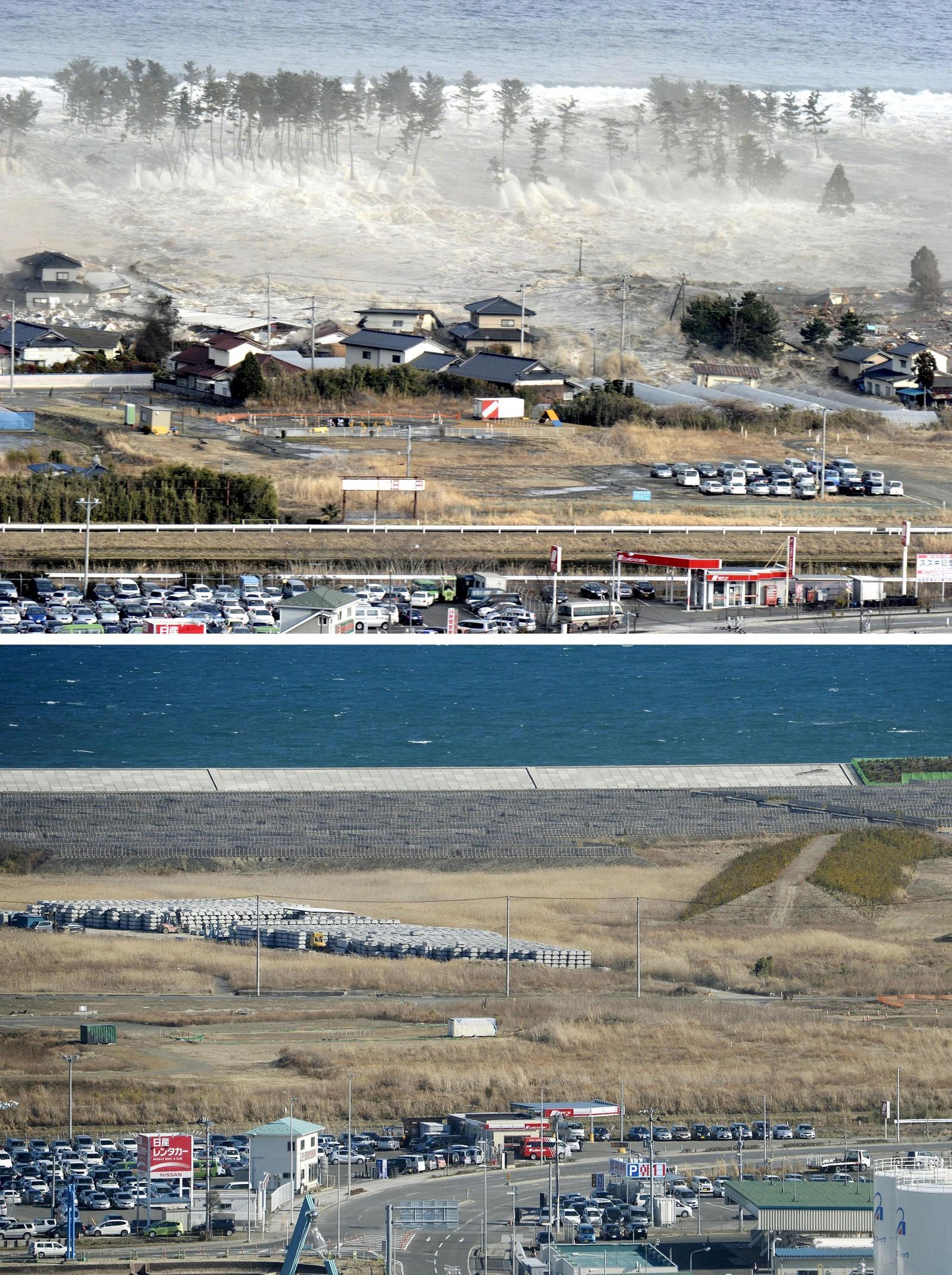 NATORI: Hus ble feid avgårde av tsunamien som fulgte jordskjelvet i Japan. Her fra Natori, nordøst i Japan. Bildet nederst viser det samme området fem år senere.