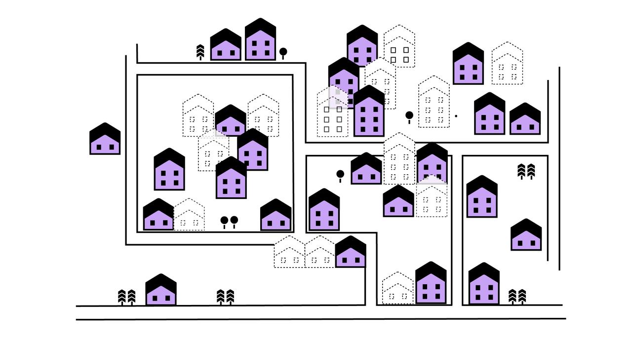 Man ser mange hus, men også bare silhuetter av hus i de mest tettbygde områdene – der folk vil bo.