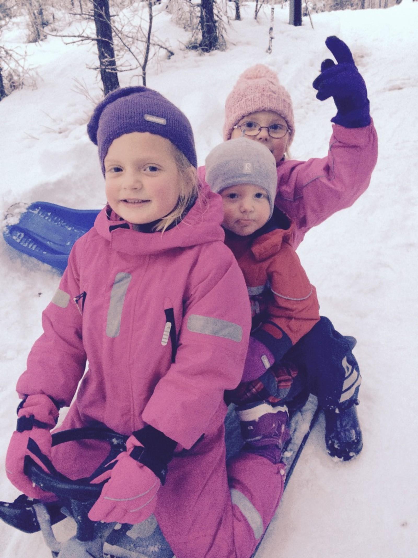 Anna, Olav og Oline akar inn jula