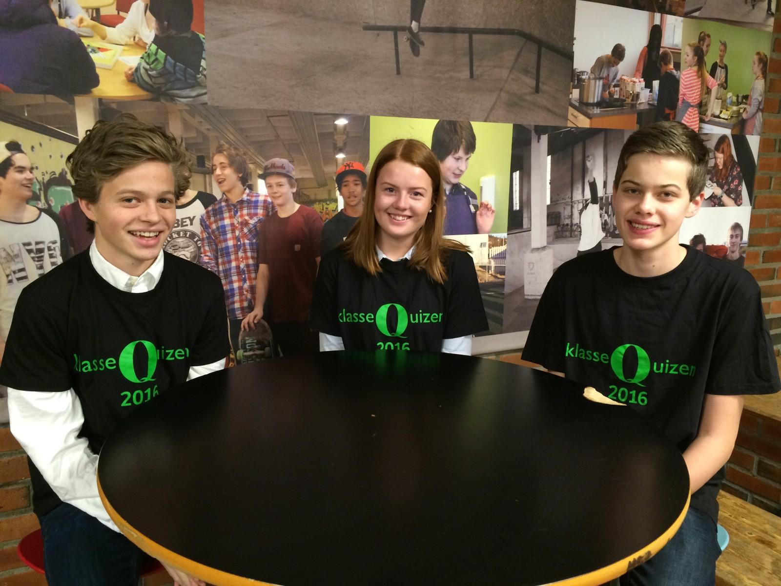 Benjamin Marstein Engen, Ingrid Elverum og Ole Magnus Ryen fra Selsbakk skole.