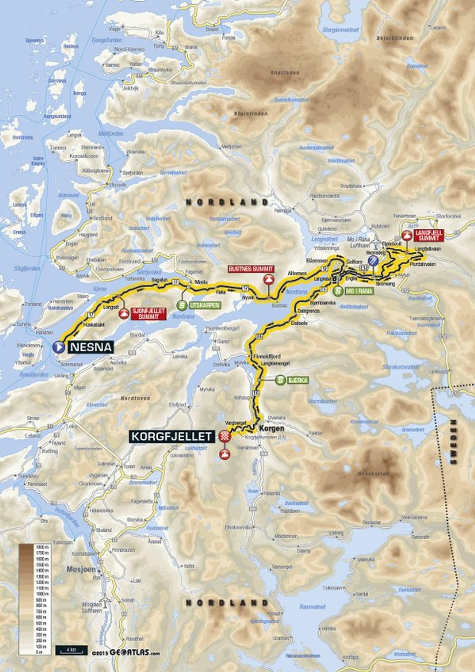 Tredje etappe Nesna-Korgfjellet er på 160 kilometer, med den høyeste målgangen i rittets historie. Den 8,9 kilometer lange stigningen opp Korgfjellet er på 6,3 prosent.