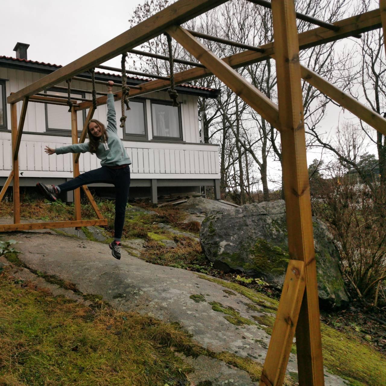 GØY Å TRENE: Hun trener både inne og ute.