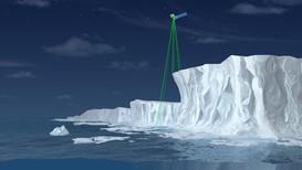 Illustrasjon av hvordan ICESat-2 skal bruke seks laserstråler til å måle høyden på den arktiske isen.