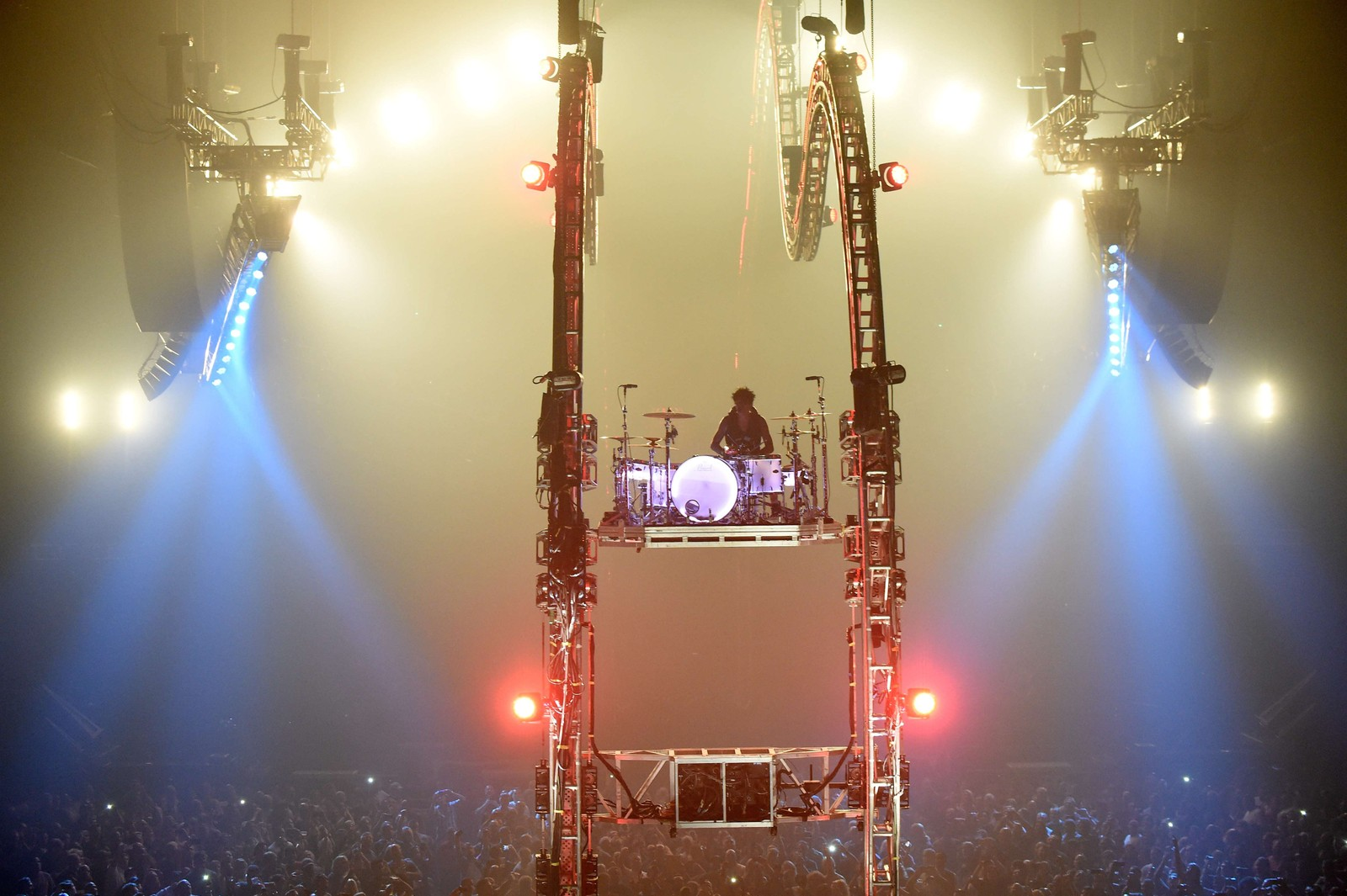 Trommis Tommy Lee i Mötley Crue hadde god utsikt under konserten i Barclay Center i New York. Bandet gjennomfører for tiden sin aller siste turné.