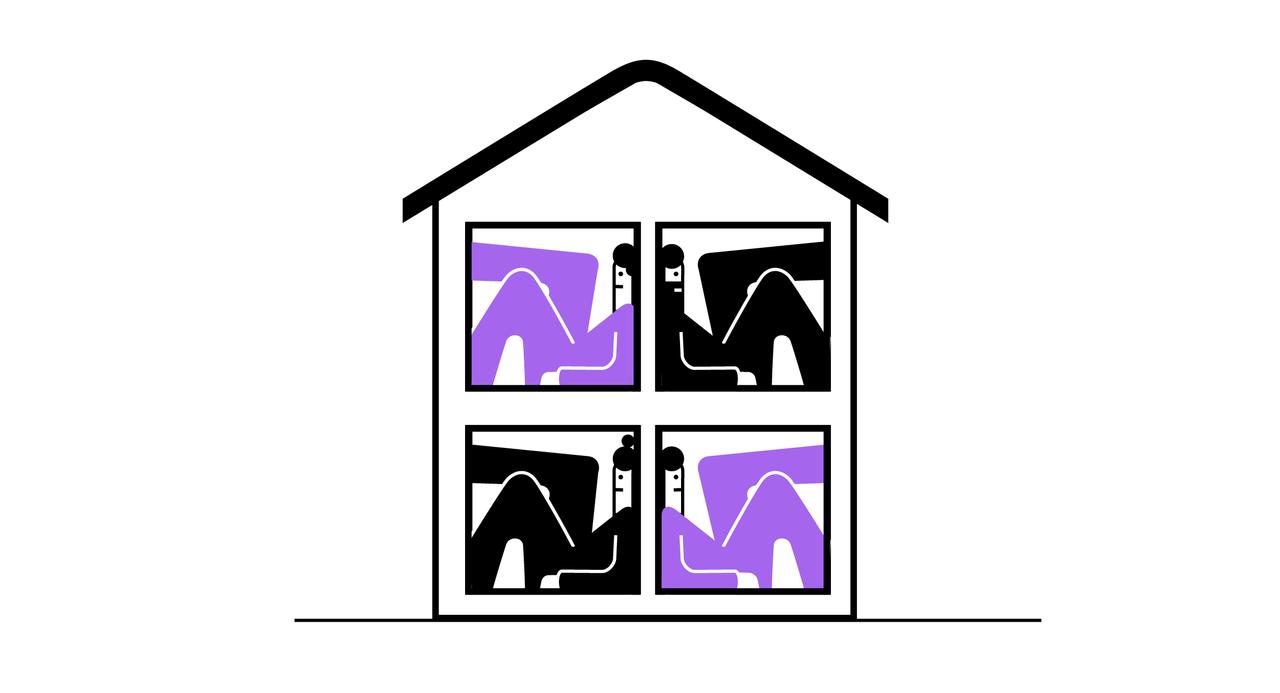 4 unge personer sitter inne i hvert sitt vindu i et hus. De har veldig trang plass, for å illustrere at de unge ofte må kjøpe veldig små boliger.