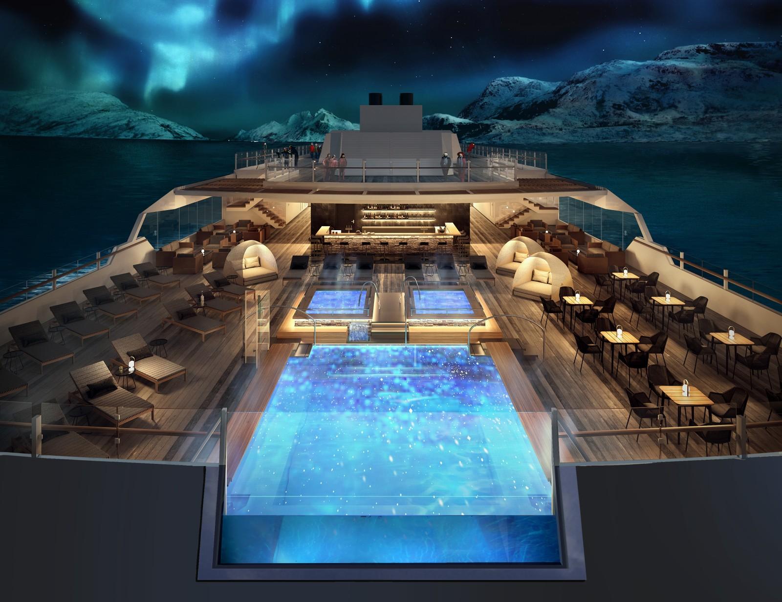 Bassenget på dekk av de nye Hurtigrute-skipene kan gi passasjerene eksepsjonelle opplevelser.