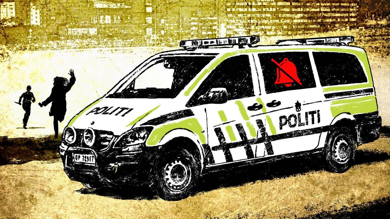 Illustrasjon med politibil og flyktende kvinne.