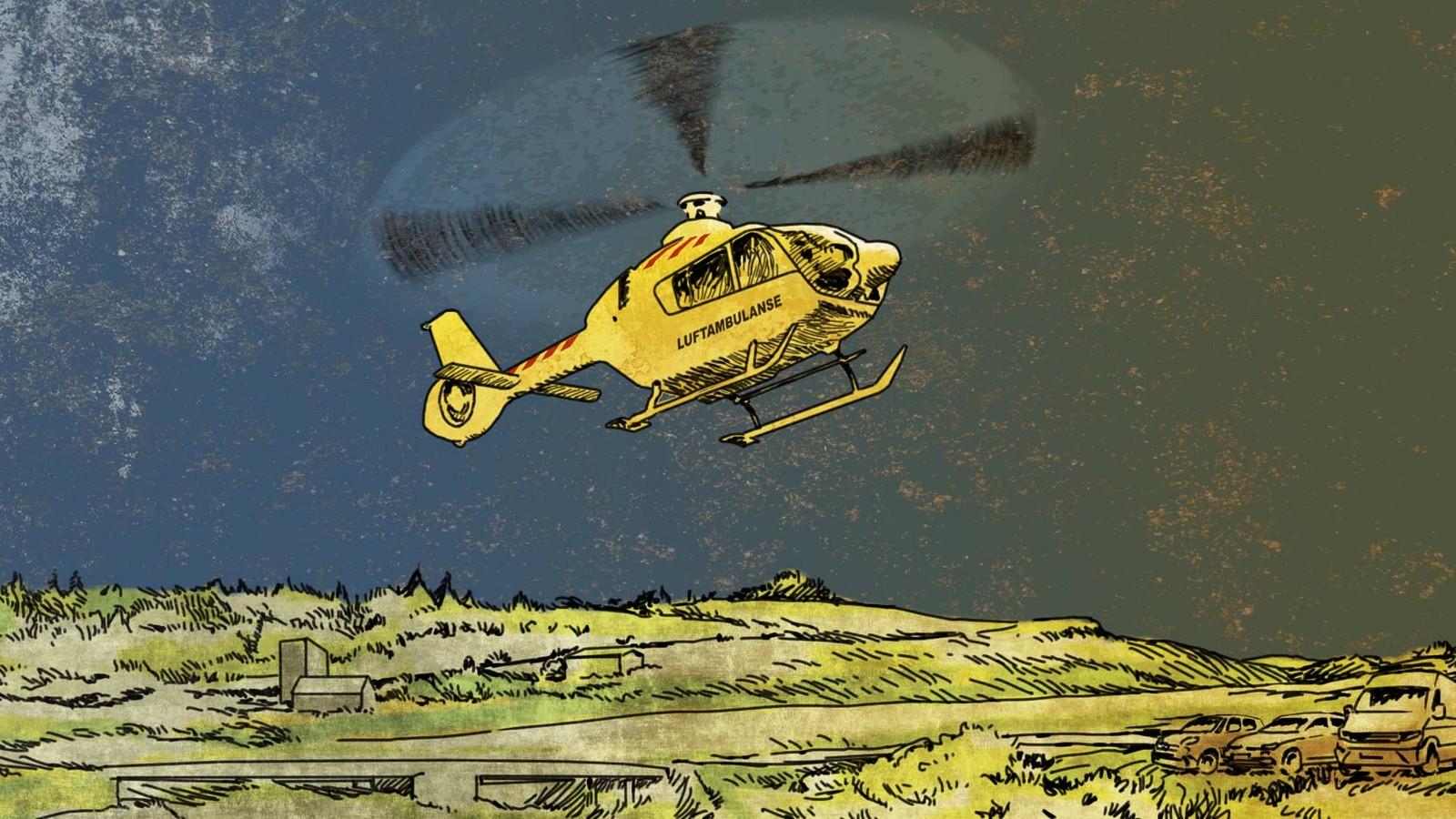 Illustrasjon av et ambulansehelikopter som lander