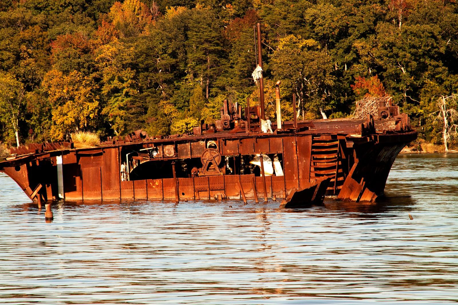 Skipsvrak på Potomac-elven i Maryland.