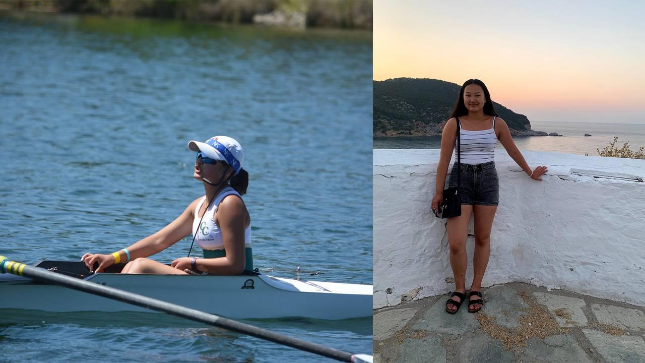 Mia Hansen trener roing i Sacramento. Tvillingsøsteren Alexandra til høyre