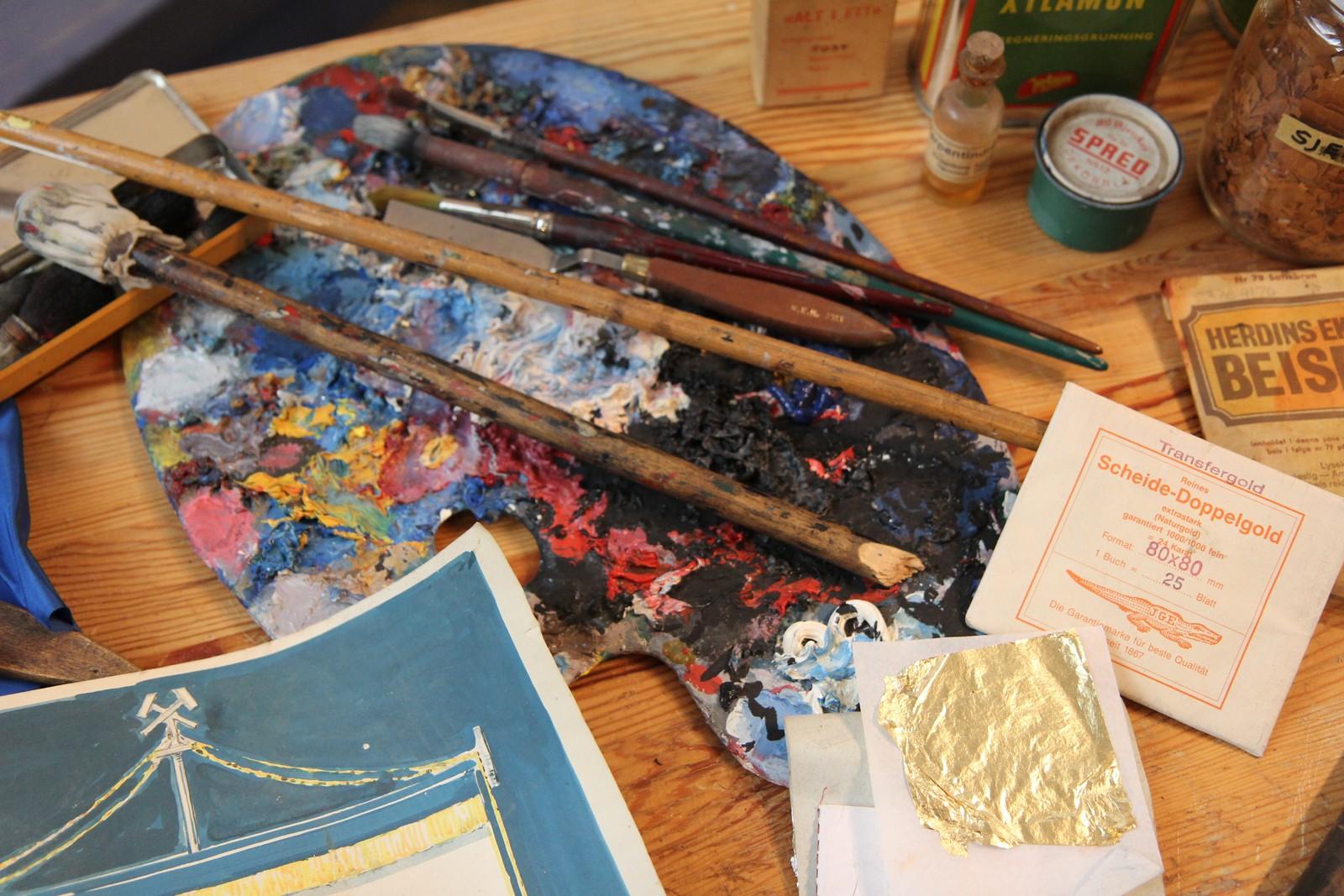 Palett som brukes til maling, også fanemaling.