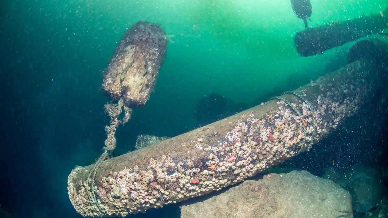 Enden av et gammelt rør, kledd med rur, i sjøen. Ingenting kommer ut av røret.
