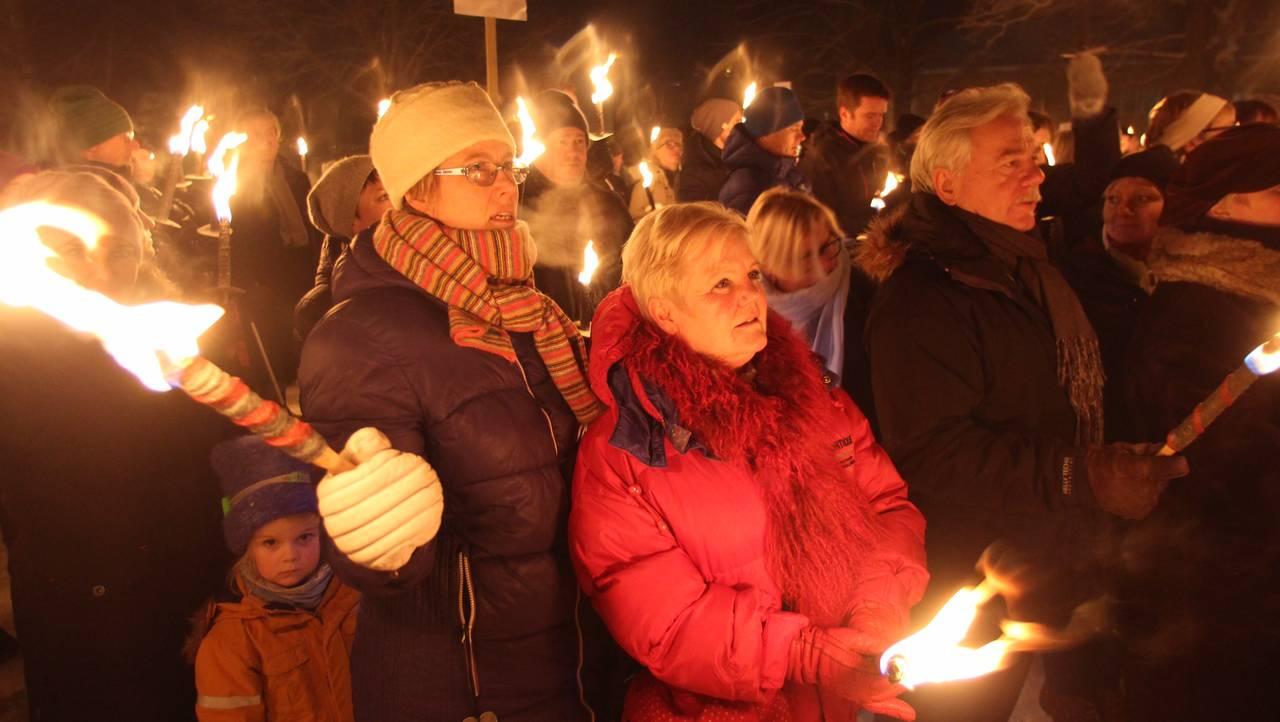 Fakkeltog for sykehuset på Lillehammer