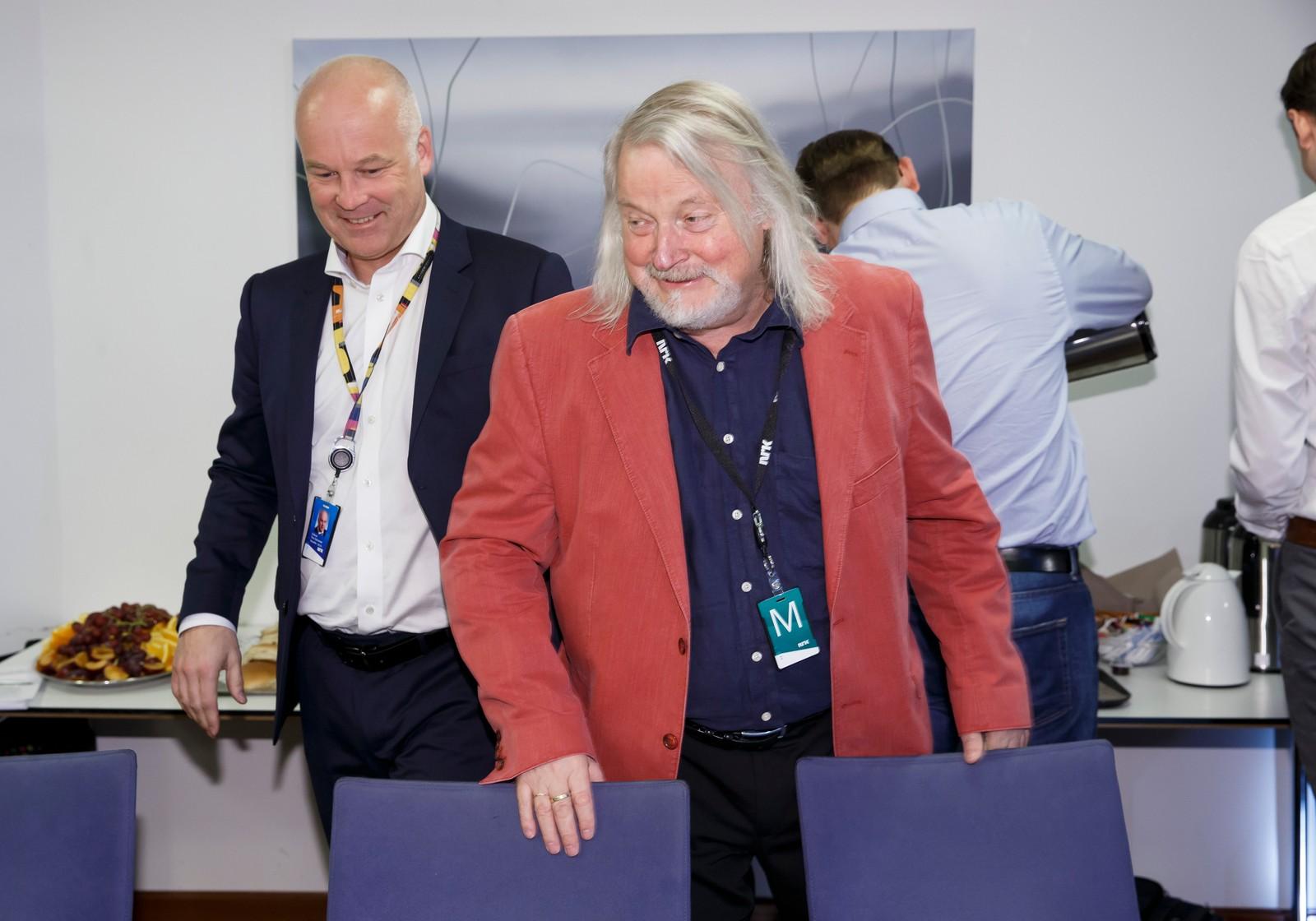 Kringkastingssjef Thor Gjermund Eriksen (tv) og leder av kringkastingsrådet Per Edgar Kokkvold fotografert i 2015.