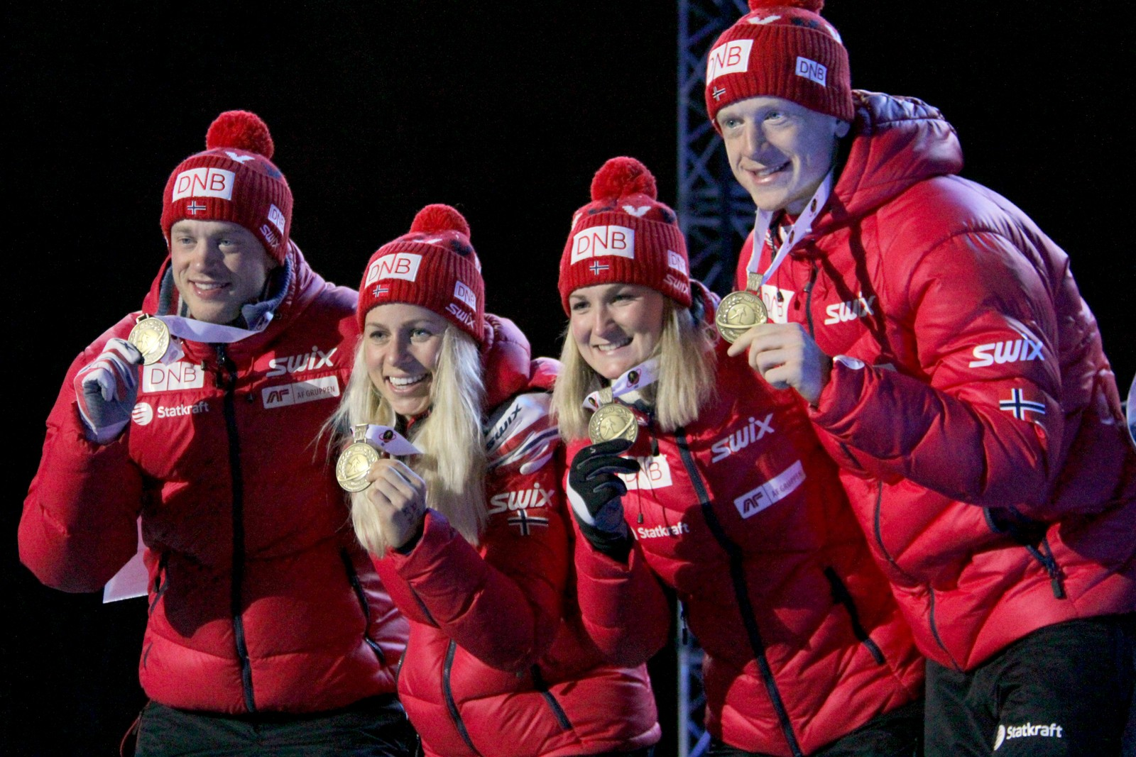 Norwegian bronze medal team, from left: Tarjei Bø, Tiril Eckhoff, Marte Olsbu and Johannes Thingnes Bø.