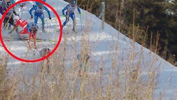 Martin Johnsrud Sundby ble hektet og gikk i bakken under 15-kilometeren i canadiske Canmore torsdag. Det var trolig grunnen til at han senere brøt rennet.