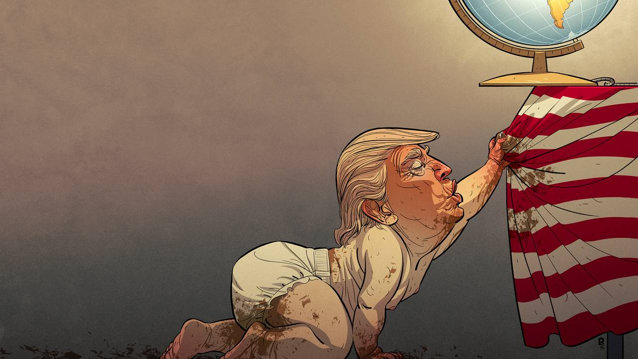 Karikatur av Donald Trump, tegnet av Christian Bloom