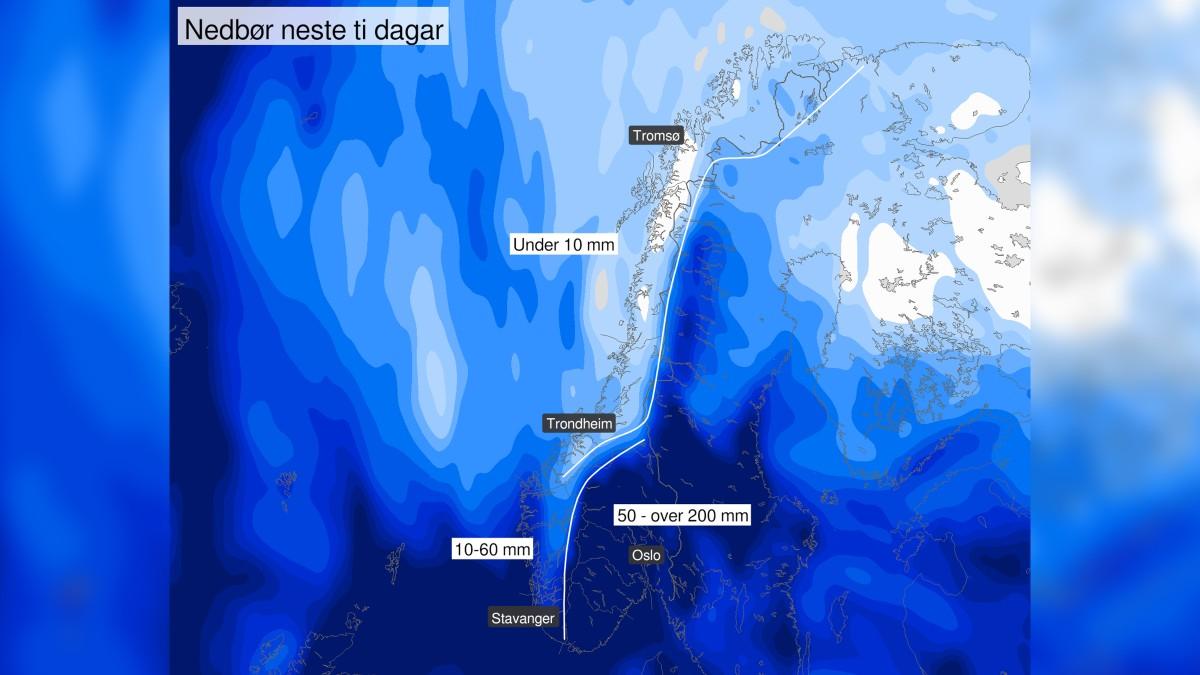 VÆRSKILLE: Vestlandet, Midt-Norge og Nord-Norge kan forberede seg på en fin start på sine høstferier. Det blir mye sol og tørt, men også mye vind her.