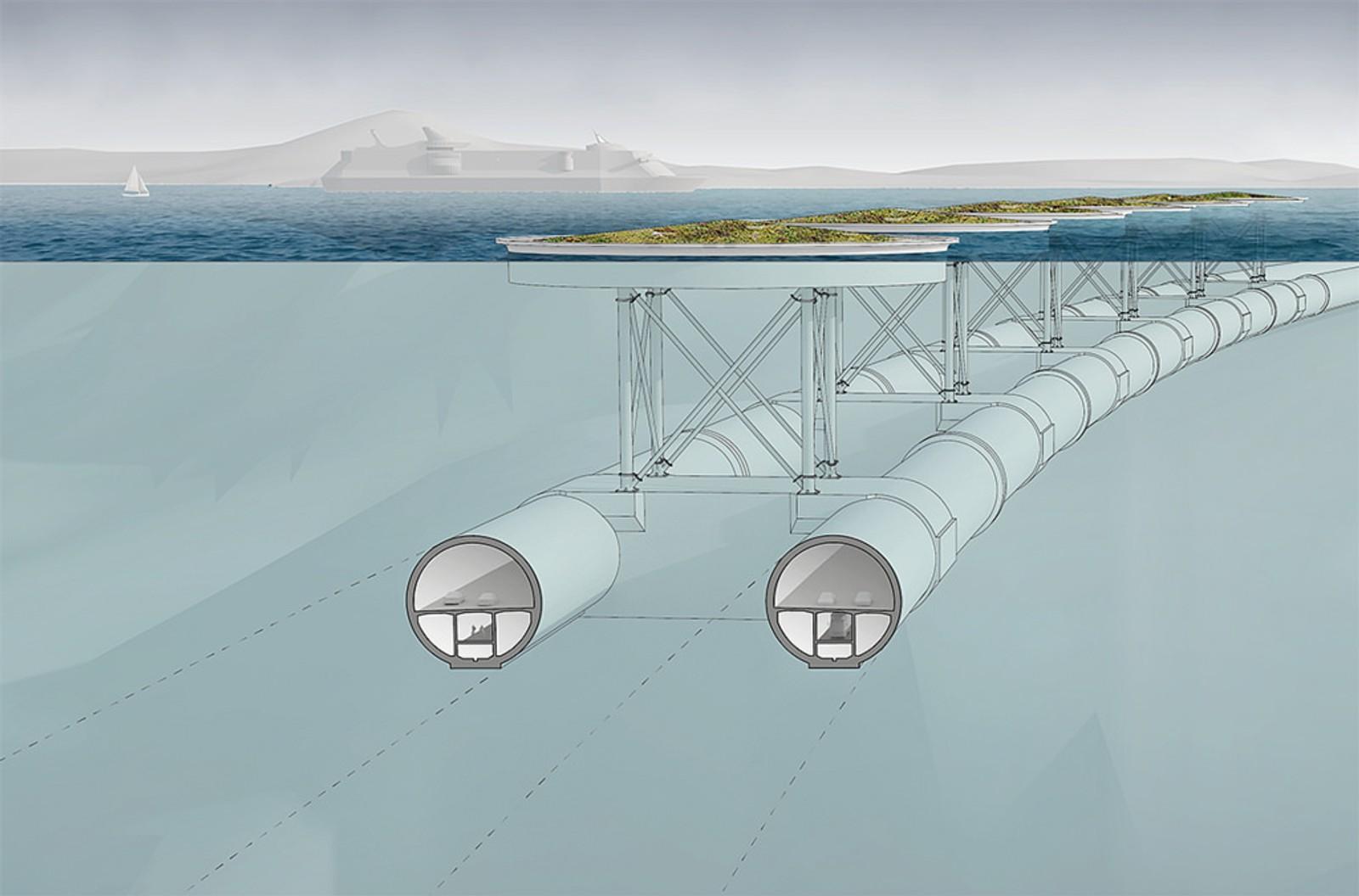 Ei røyrbru over Bjørnafjorden vil ha to løp med to felt i begge under vassoverflata. Brua vil bli minst 4,5 kilometer lang. Her ser vi løysing med bruforankring i flytande pongtongar.