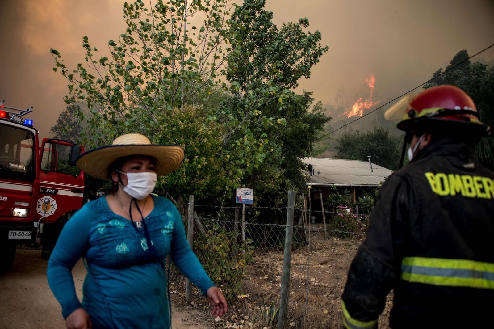 Frivillige og brannmannskaper forsøker å slukke brann i Pumanque, 140 km sør for Santiago.