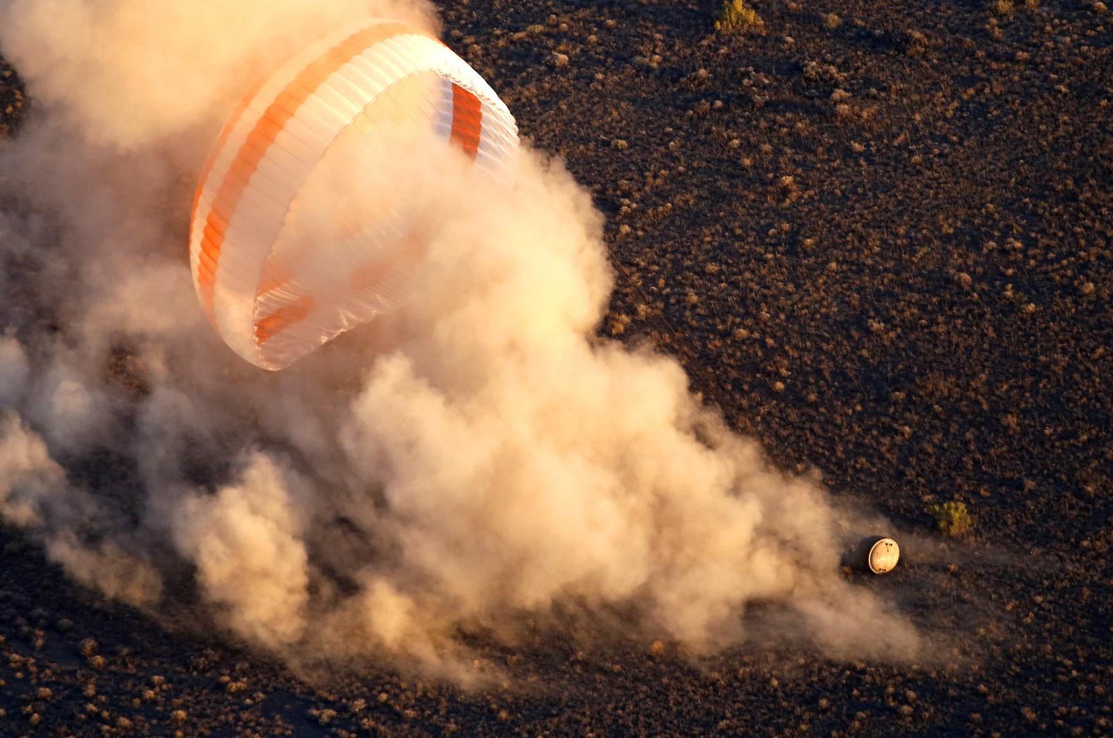 Og slik så landingen ut. Ikke rart romfarerne smilte etterpå.