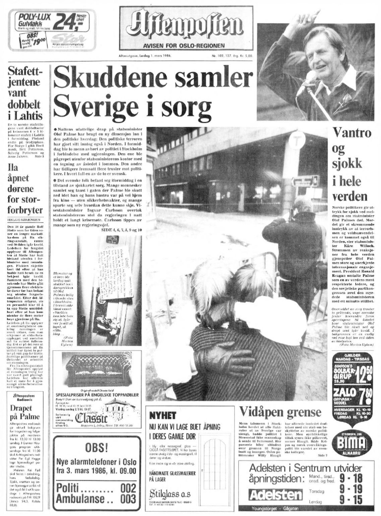 Aftenpostens forside 1. mars 1986