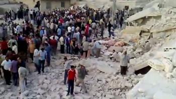 Syria - bombede hus i Hama