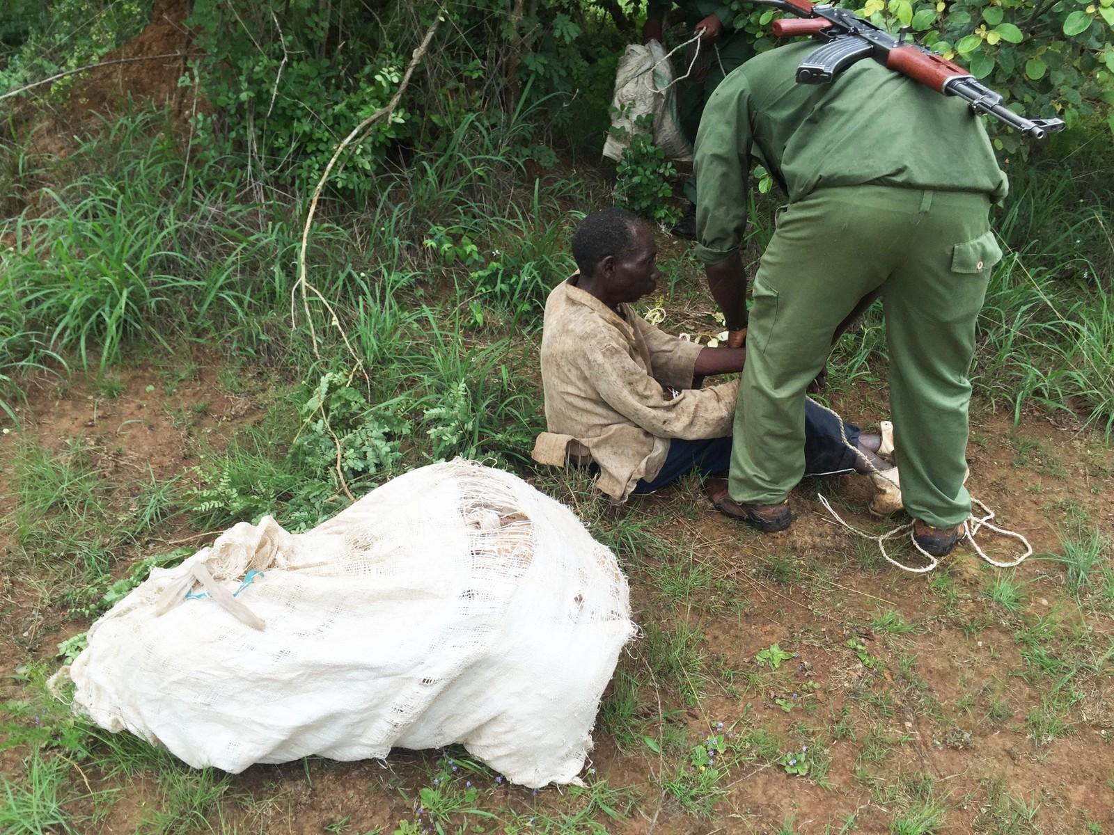 Krypskytter blir arrestert som ledd i UNEPs aksjon Rapid Response i Kongo.