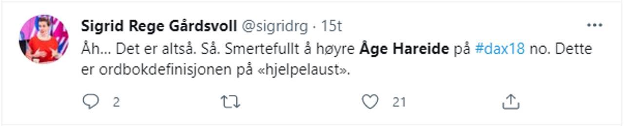 Twitter-melding om Åge Hareide