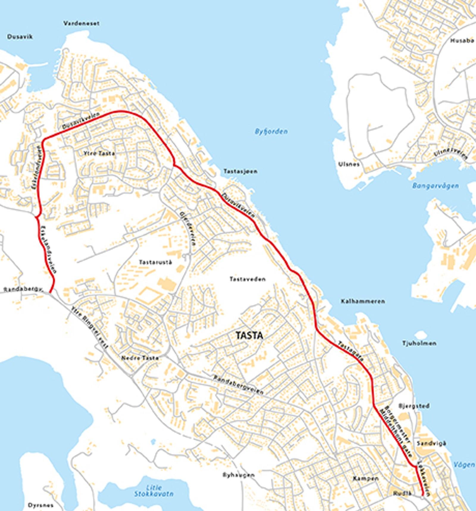 Løkkeveien, Borgermester Middelthons gate, Tastagata, Dusavikveien, Eskelandsveien (Fv411), natt til tirsdag 12. mai.