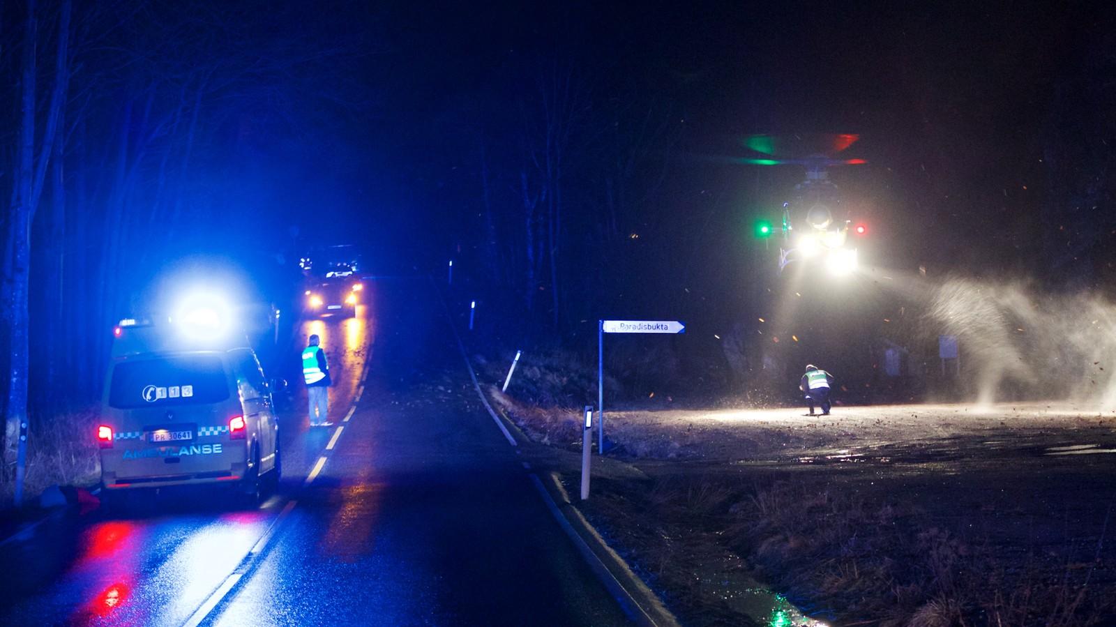 Luftambulansen hentet 19-åringen og fløy ham til Sørlandet sykehus Kristiansand.