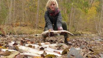 Ann Kristin Solheim Vakrak holder opp død fisk som er funnet i Leirelva i Sande