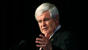 USA-CAMPAIGN/ U.S. Republican presidential candidate and former Speaker of the House Gingrich speaks at a Hispanic Town Hall Meeting in Elgin