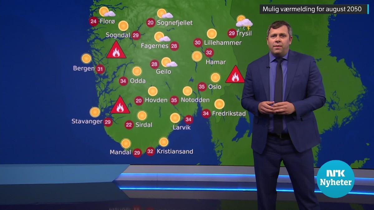 Kristian Gislefoss viser hvordan været kan bli i en ekstremsommer om 30 år.