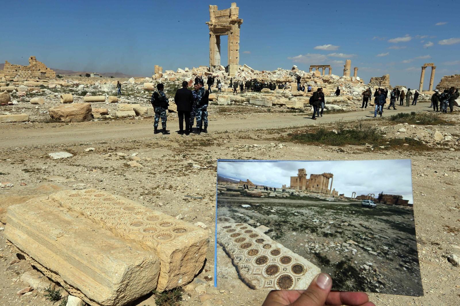 Det historiske tempelet er totalødelagt etter IS-eksplosjonene.