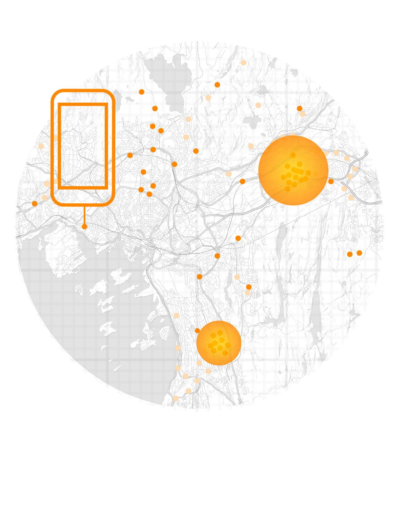 Noen små prikker fordelt utover kart, to store sirkler der det er samlinger med mange prikker.