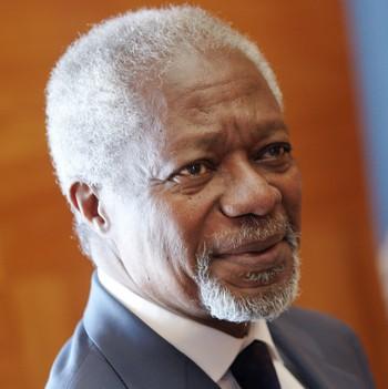 Kofi Annan i FNs Europa-hovedkvarter i Geneve