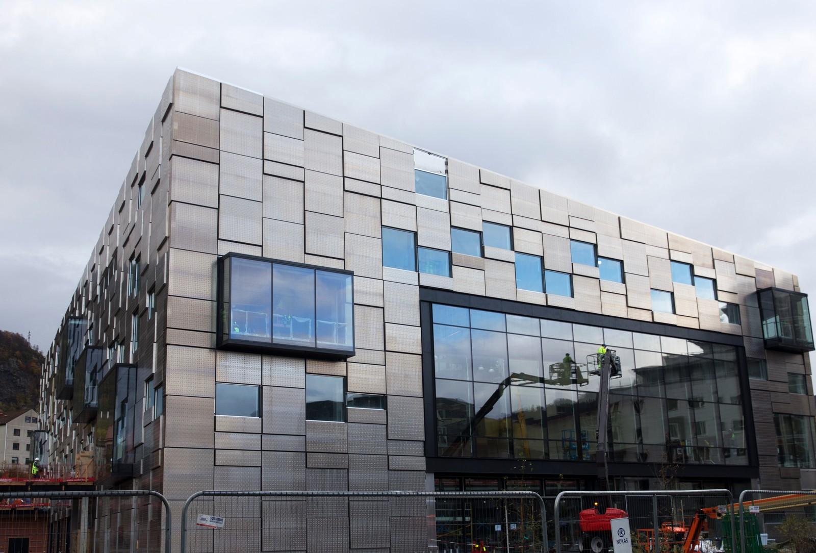 Fasaden på det nye bygget til Kunst- og designhøgskolen i Bergen.