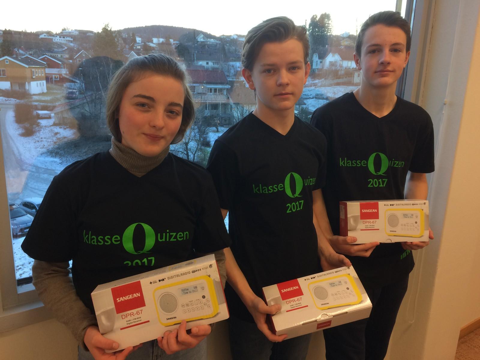 SUNNLAND SKOLE: Fra venstre: Ingrid Sofie Syrstad Ude, Tallak Ravn og Oscar Nygård.